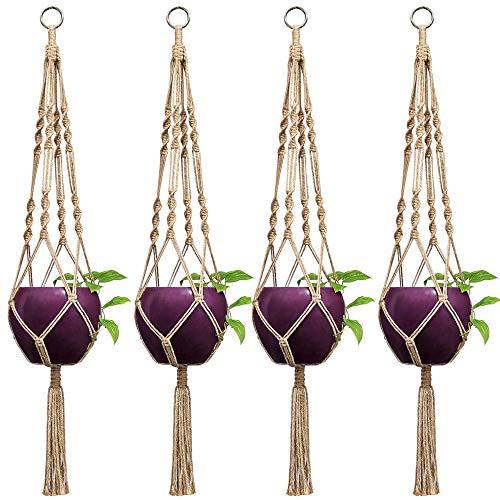 Mkono 4 Pcs Macrame Plant Hangers Indoor Outdoor Hanging Planter Basket Jute Rope 4 Legs 40 Inch
