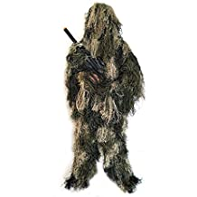 BESTHUNTINER Ghillie Suit Camouflage Suit 5 Pieces Jacket&Pants&Hood&Rifle Wrap&Carry Bag Adult Size M/L&XL/XXL