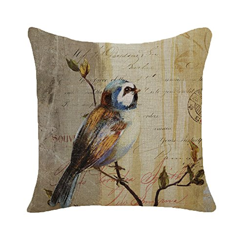 Monkeysell Rural Locations Flower Bird Butterfly Series Pattern Flax Square Sofa Home Decor Design Throw Pillow Case Cushion Covers 18 Inch