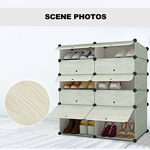 Nex Shoe Rack Organizer Halloween Gifts Plastic Portable DIY Shoes Boots  Cabinet Organizer 5 Layer Wood Grain Shoe Case For Adults Or Kids(white  Stripes) Part 61
