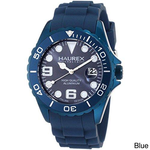 Haurex Italy Men's 1K374UB2 Ink Blue Rubber Band Aluminum Dial Watch by Haurex