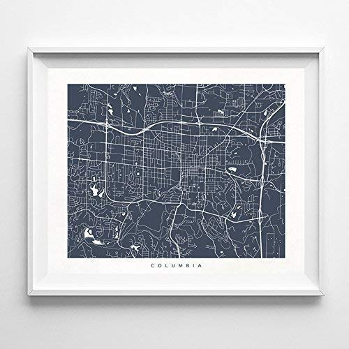 Amazon Com Columbia Missouri Street Road Map Poster Home