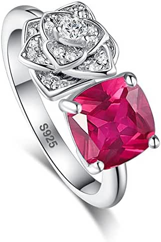 Merthus Rose Flower Red Ruby July Birthstone Cluster Ring 925 Sterling Silver
