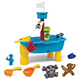 Liberty Imports Pirate Ship Beach Sand and Water Play Table for Kids with Shovel, Rake, Sand Wheel, Mini Boat, Shape Molds & More