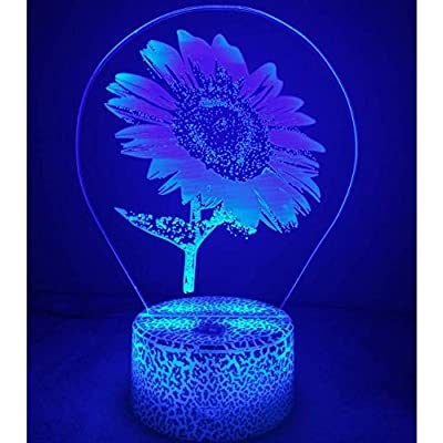 3D Sunflower Night Light USB Powered Touch Switch Remote Control LED Decor Optical Illusion 3D Lamp 7/16 Colors Changing Xmas Brithday Children Kids Toy Christmas Gift: Home & Kitchen