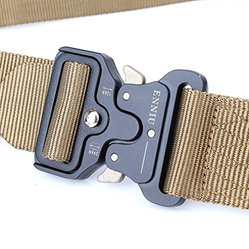Review Mens Tactical Belt, W/1.5″-1.7″ Military Nylon Waist Belt with Metal Buckle Adjustable Combat Equipment Belt Heavy Duty Army Training Carry Waist Belt (Brown W/1.7 inches)