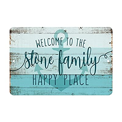 Personalized Welcome to the Family Happy Place Rustic Nautical Look Metal Sign