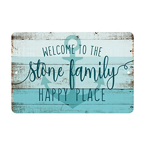 Welcome Nautical Sign (Personalized Welcome to the Family Happy Place Rustic Nautical Look Metal Sign)
