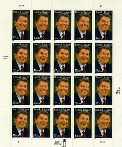 2005 RONALD REAGAN #3897 Pane of 20 x 37 cents US Postage Stamps ()