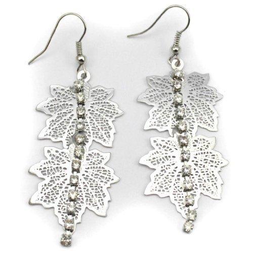 Elixir77UK Couleur Argent paire de feuilles Cristal Gland Pendants Gouttes Lustre 6cm Longues Boucles D'oreilles