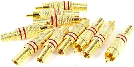 uxcell オーディオアダプター ゴールドトーン レッド x10 65g メタル
