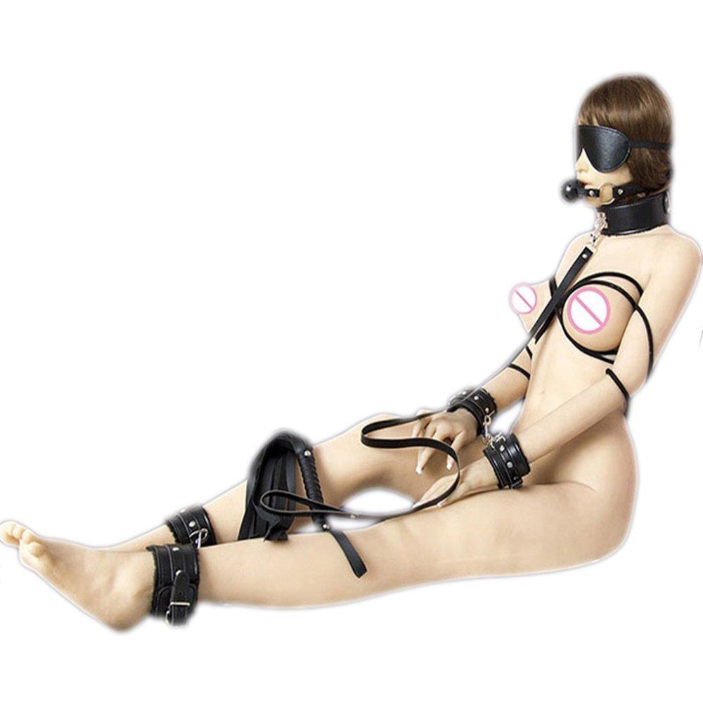 Santchcz BDSM Bondage Cuero De La PU Cuerda Kit De Fetiche 7 Piezas Gag Ball Esposas Cuerda PU Látigo Máscara Ojo Patch Toys para Parejas 38a1e5