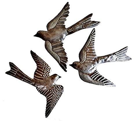 Large Metal Birds, Handmade In Haiti, (set Of 3) Garden Wall Art