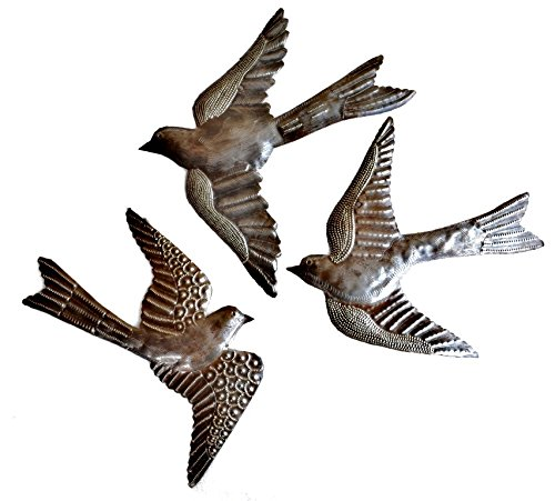3 Large Wall Accent - Large Metal Birds, Handmade in Haiti, (set of 3) Garden Wall Art 11