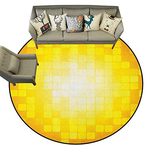 (Yellow,Carpet Flooring Mosaic Retro Square Shapes and Patterns Pixels Rays Contemporary Graphic Design D36 Soft Area Rug for Children Baby)