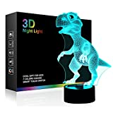 Dinosaur 3D Night Light Bedside Table Lamp, iTao 7 Colors Changing Lights Touch Switch Desk Decoration Illusion USB Lamps Birthday Christmas Gift for Kids, Lovers
