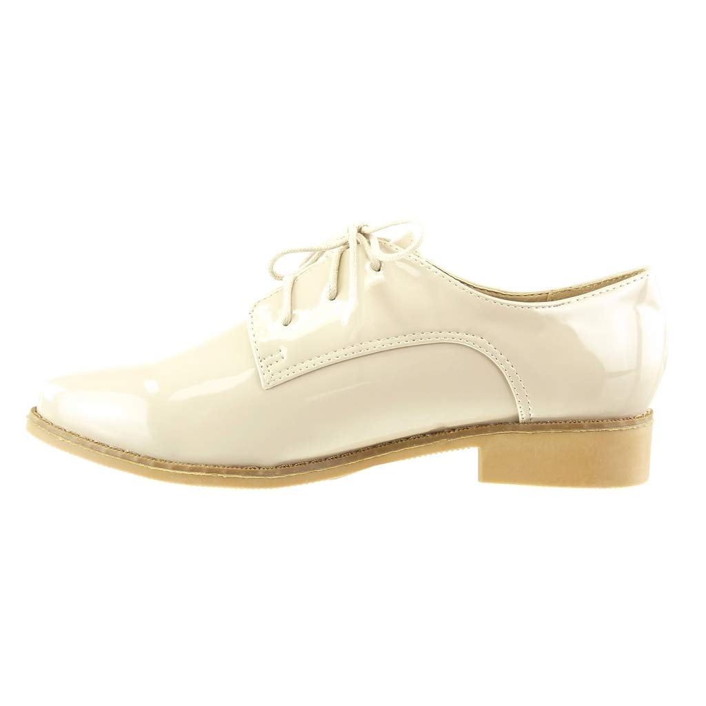 d8545e5e62372 Angkorly Chaussure Mode Richelieu Derbies Slip-on Femme Verni Lacets perforée  Talon Bloc 2.5 CM CM ...