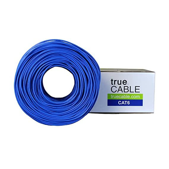 trueCABLE Cat6 Shielded Riser (CMR), 1000ft, Blue, 23AWG Solid Bare Copper, 550MHz, ETL Listed, Overall Foil Shield (FTP), Bulk Ethernet Cable 2 HIGH PERFORMANCE NETWORK CABLE. This riser rated cat 6 lan cable is 23 AWG with 4 pairs (8C). The overall aluminum (AL) foil shield helps eliminate cross-talk and outside interference. Suitable for Fast, Gigabit, and 10-Gigabit Ethernet. Supports bandwidth of up to 550 MHz. HASSLE FREE PACKAGING. 1000 feet (305 meters) of our trueCABLE product has been packaged in a tangle free, easy pull box so you don't have to worry about getting behind on your next job. 100% SOLID BARE COPPER CONDUCTORS. Pure bare copper produces a stronger signal along with better conductivity and flexibility when compared to copper clad aluminum (CCA).