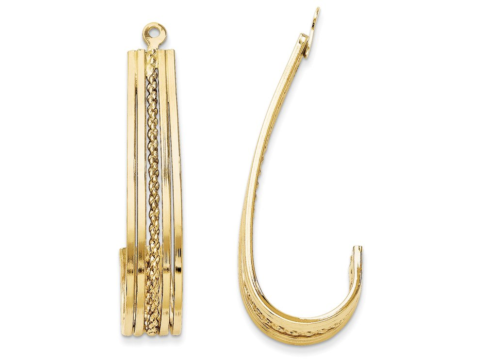 14k Yellow Gold Polished J-hoop Earring Jackets