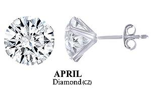 10k White Gold 4mm Round April Diamond Birthstone Stud Earrings
