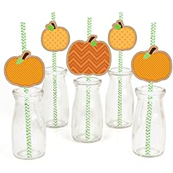 Pumpkin Patch Paper Straw Decor - Fall & Halloween Party Striped Decorative Straws - Set of 24