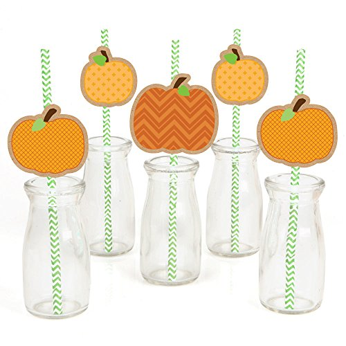 Pumpkin Patch Paper Straw Decor - Fall & Thanksgiving Party Striped Decorative Straws - Set of 24 ()