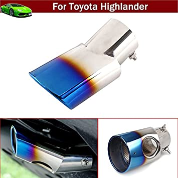 New 1pcs Blue Color Stainless Steel Tailpipe Exhaust Muffler Tail Pipe Tip Cover Trim Custom Fit For Toyota Highlander 2009 2010 2011 2012 2013 2014 2015 2016 2017 2018 2019 2020 Pipes Amazon Canada