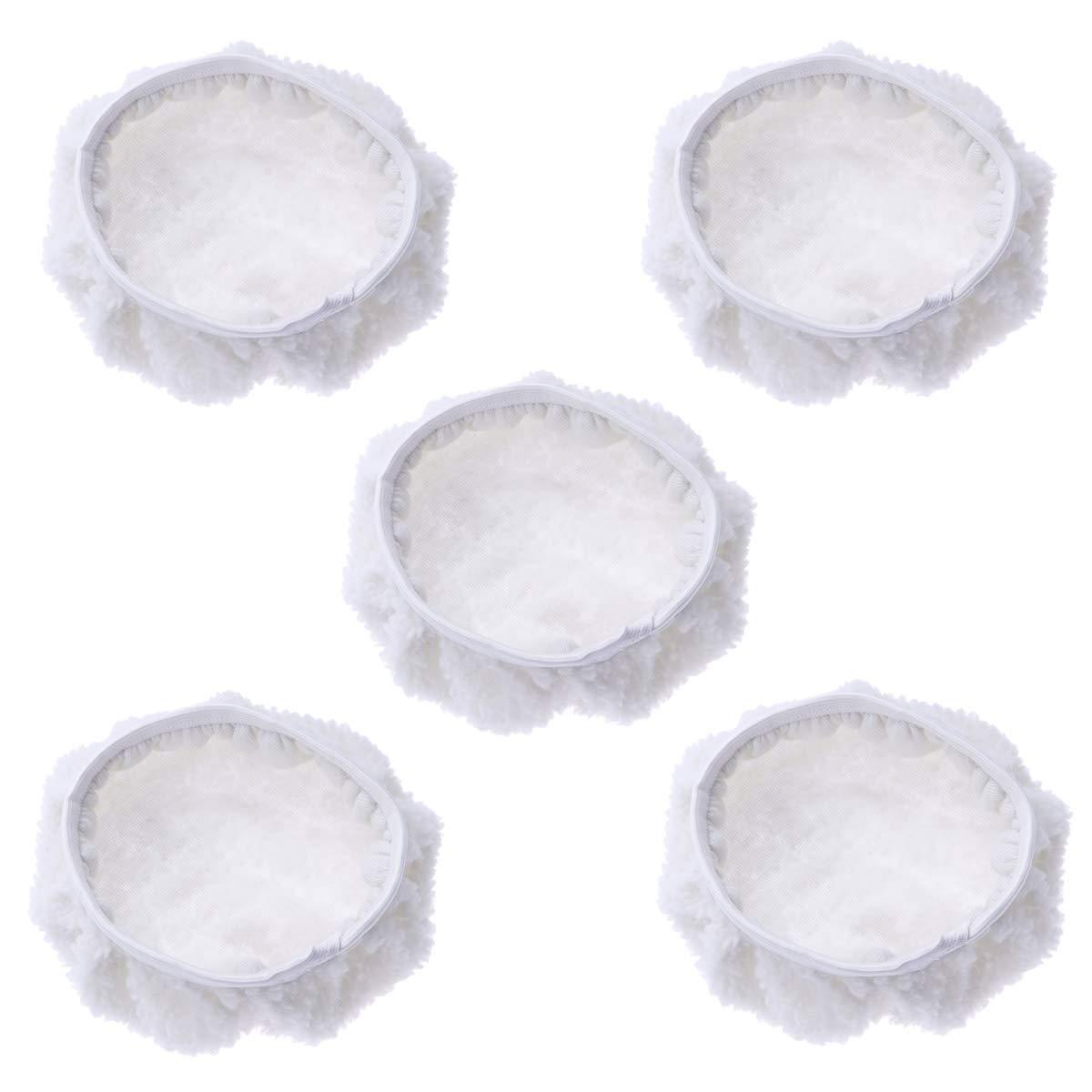 VORCOOL 5pcs Car Polishing Waxing Lambswool Bonnets Pads - 9-10 inch (White)