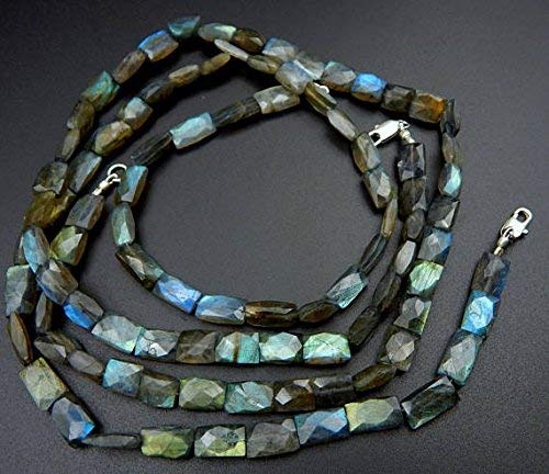 (Labradorite Faceted Square Beads Rectangle Shape 9.5x7 to 9x6.mm 19