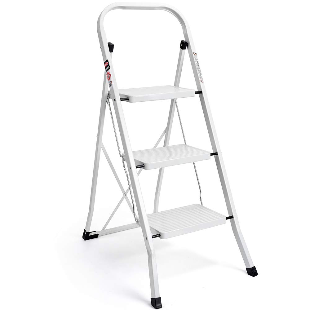 Delxo 3 Step Ladder Folding Step Stool Ladder with Handgrip Anti-Slip Sturdy and Wide Pedal Multi-Use for Household and Office Portable Step Stool Steel 330lbs White (3 feet) by Delxo