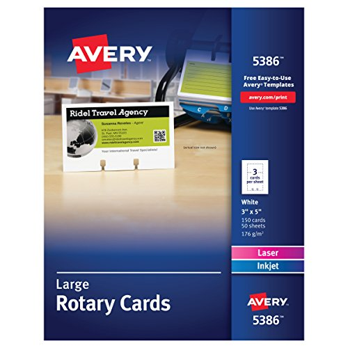 - Avery 5386 Large Rotary Cards, Laser/Inkjet, 3 x 5, 3 Cards per Sheet (Box of 150 Cards)