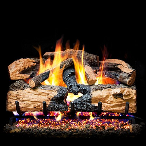 Charred Split Vented Natural - Peterson Real Fyre 24-inch Charred Evergreen Split Oak With Vented Natural Gas G52 Burner - Variable Flame Remote