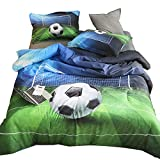 AMOR & AMORE 3D Green Football Soccer Ball Bedding Sets Boys Bedding Full Size, 3pc Sports Bedding Men Teen Kids Bedding Soccer Comforter Sets (Full)