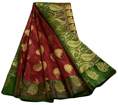 Banaras Handloom Saree Indian Art Silk Zari Woven Heavy Sari Fabric Maroon