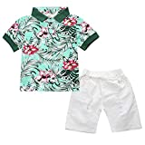 Kids Boys' Summer Gentleman Floral T-Shirts and Ripped Shorts Clothing Sets (4-5T, Green)