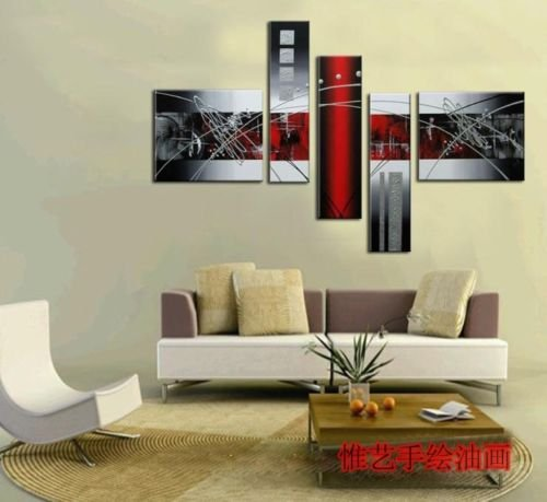 Stretched picture Frame wall art handpainted oil painting on canvas Free Shipping line sky wall pictures for living room home decoration wall painting modern paintings 5 piece canvas art painting