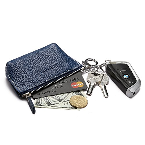 MEKU Womens Leather Zip Coin Purse Key Wallet ID Card Holder with 2 Key Rings