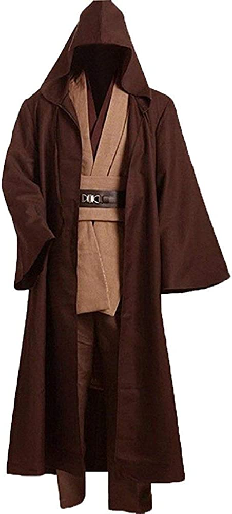Cosplaysky Adult Tunic Hooded Robe Outfit for Jedi Costume Brown Version