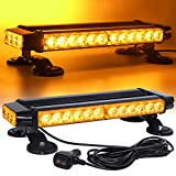 Linkitom LED Strobe Flashing Light Bar -Double Side Amber 30 LED High Intensity Emergency Hazard Warning Lighting Bar/Beacon/with Magnetic and 16 ft Straight Cord for Car Trailer Roof Safety