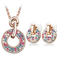 "LadyColour ""Rainbow"" Multicolor Jewelry Set Made with Swarovski Crystals, Pendant Necklace and Stud Earrings"