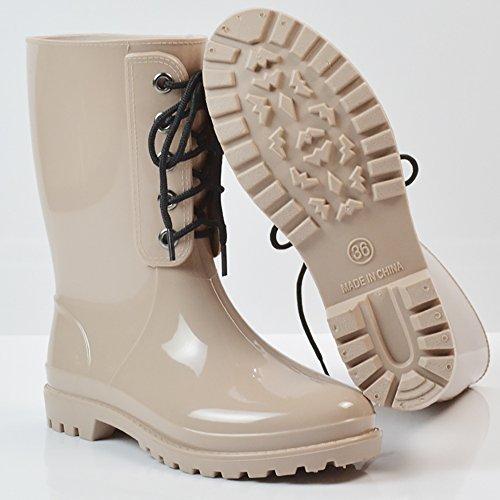 Boots Slip Martin Waterproof Apricot QZUnique Shoes Rain Rain Half 1 Women's Anti Rubber EpEwxSYT
