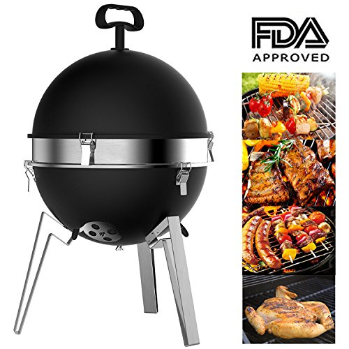 Mangotree Charcoal Grill Portable 12.40in BBQ Removable Barbecue Lightweight Barbecue with Stainless Steel Grate for Patio Garden Lawn Party Beach Camping Backyard Cooking Outdoor Barbecue Tool Black
