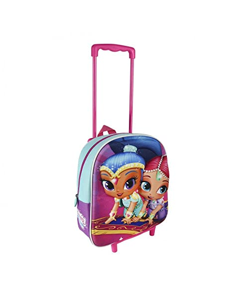 Mochila Carrito Trolley Infantil de Color Rosa Decorada con alegres Princesas - Hogar y Más
