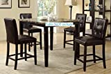Kitchen Bar for Apartment Set of 4 Counter Height Chairs with Faux Leather and Tuft Buttons (Espresso)