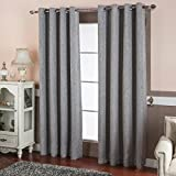 "Best Dreamcity Faux Linen Blackout Curtains for Bedroom, Window Treatment, Room Darkening, Insulated, Grommet Top, Set of 2 Panels, W52"" X L84"", Silver Grey"