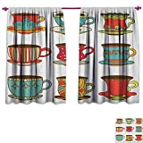 homefeel Tea Party Room Darkening Wide Curtains Colorful Vivid Teacup Design Cartoon Drawing Style Breakfast Brunch Illustration Customized Curtains W96 x L72 Multicolor Review