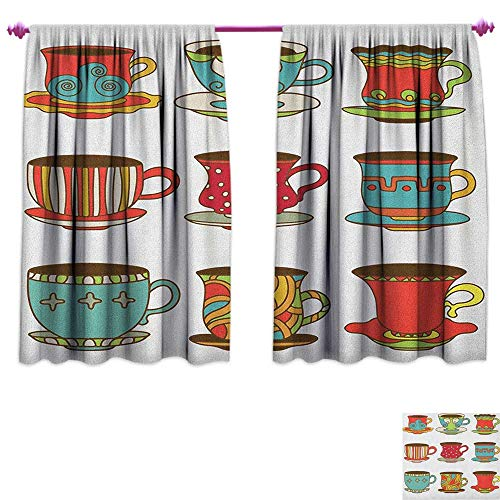 homefeel Tea Party Room Darkening Wide Curtains Colorful Vivid Teacup Design Cartoon Drawing Style Breakfast Brunch Illustration Customized Curtains W96 x L72 Multicolor