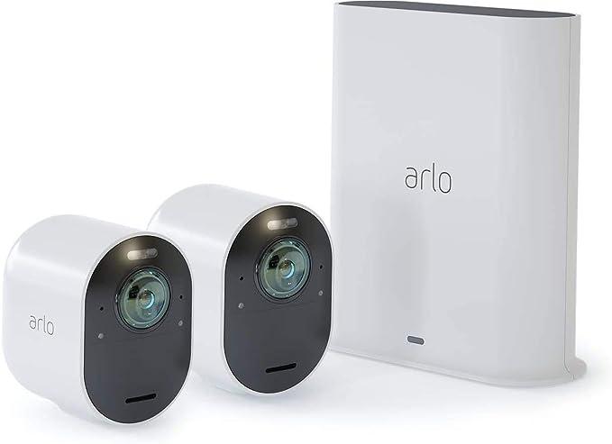 Arlo Ultra Wlan Überwachungskamera Alarmanlage Innen Aussen Kabellos Bewegungsmelder 4k Smart Home Farbnachtsicht 180 Grad Blickwinkel 2 Wege Audio Spotlight Vms5240 Weiß Baumarkt