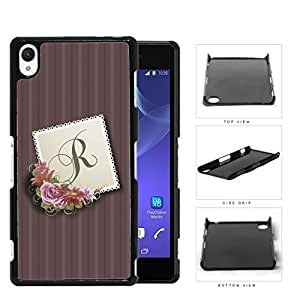 CUSTOM NAME INITIAL Burgundy Stripes with Pink Floral Center Stamp Design Sony Xperia Z3 Hard Snap on Plastic Cell Phone Case Cover
