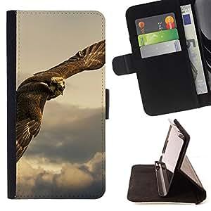 BullDog Case - FOR/HTC One M9 / - / owl hawk predator hunting bird prey /- Monedero de cuero de la PU Llevar cubierta de la caja con el ID Credit Card Slots Flip funda de cuer